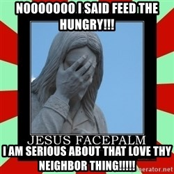Jesus Facepalm - Nooooooo I said feed the hungry!!! I am serious about that Love thy neighbor thing!!!!!
