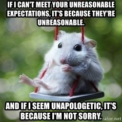 Sorry I'm not Sorry - If I can't meet your unreasonable expectations, it's because they're unreasonable. And if I seem unapologetic, it's because I'm not sorry.