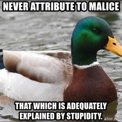 Actual Advice Mallard 1 - Never attribute to malice that which is adequately explained by stupidity.