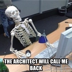 I'm just gonna wait here skeleton -  The architect will call me back
