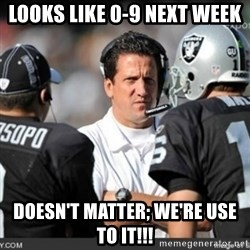 Knapped  - Looks like 0-9 next week Doesn't matter; we're use to it!!!