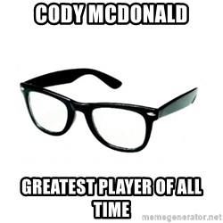 hipster glasses - Cody McDonald Greatest player of all time
