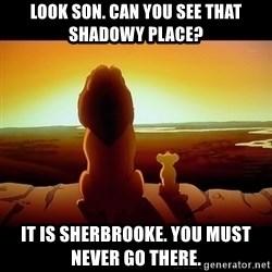 Simba - Look son. Can you see that shadowy place? It is Sherbrooke. You must never go there.