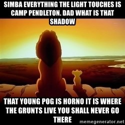 Simba - simba everything the light touches is camp Pendleton. dad what is that shadow that young pog is horno it is where the grunts live you shall never go there