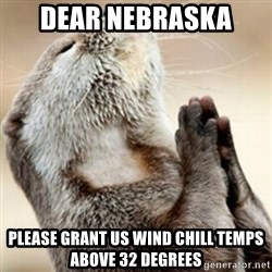 Praying Otter - Dear Nebraska  Please grant us wind chill temps above 32 degrees