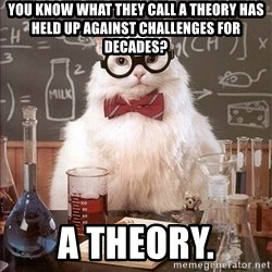 Science Cat - You know what they call a theory has held up against challenges for decades? A theory.