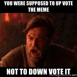 You were the chosen one  - you were supposed to up vote the meme not to down vote it