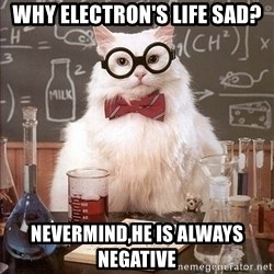 Chemistry Cat - Why electron's life sad? Nevermind,he is always negative