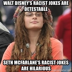 College Liberal - walt disney's racist jokes are detestable seth mcfarlane's racist jokes are hilarious