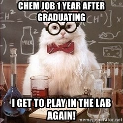 Science Cat - Chem job 1 year after graduating I get to play in the lab again!