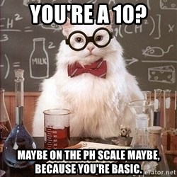 Science Cat - You're a 10? Maybe on the pH scale maybe, because you're basic.