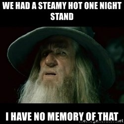 no memory gandalf - we had a steamy hot one night stand i have no memory of that