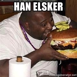 Fat man eating burger - Han elsker