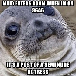 Awkward Moment Seal - Maid enters room when Im on 9GAG It's a post of a semi nude actress