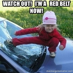Angry Karate Girl - Watch out!   I'm a   red belt now!