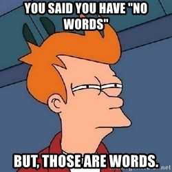 "Confused Fry - You said you have ""no words"" But, those are words."