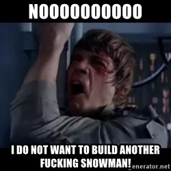 Luke skywalker nooooooo - NOOOOOOOOOO  I DO NOT WANT TO BUILD ANOTHER FUCKING SNOWMAN!