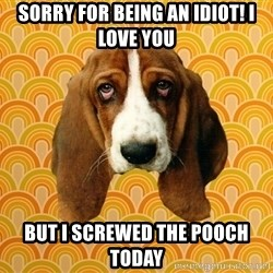 SAD DOG - Sorry for being an idiot! I Love you but I screwed the pooch today