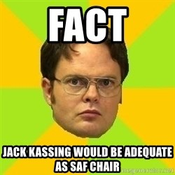 Courage Dwight - Fact Jack kassing would be adequate as saf chair