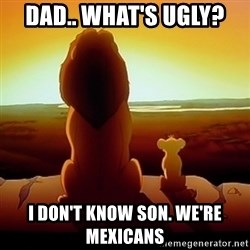 the lion king with son - Dad.. What's ugly?  I don't know son. We're Mexicans