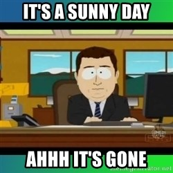 AH ITS GONE - it's a sunny day ahhh it's gone