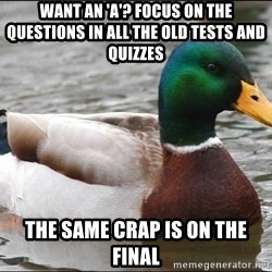 Actual Advice Mallard 1 - want an 'A'? focus on the questions in all the old tests and quizzes the same crap is on the final