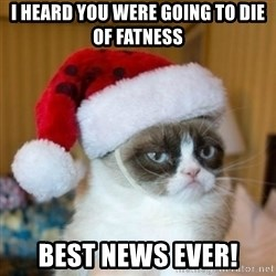 Grumpy Cat Santa Hat - I heard you were going to die of fatness Best news ever!