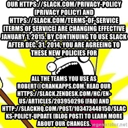 X ALL THE THINGS - Our https://slack.com/privacy-policy [Privacy Policy] and https://slack.com/terms-of-service [Terms of Service] are changing effective January 1, 2015. By continuing to use Slack after Dec. 31, 2014, you are agreeing to these new policies for all the teams you use as robert@crankapps.com. Read our https://slack.zendesk.com/hc/en-us/articles/203950296 [FAQ] and http://slackhq.com/post/103473448150/slacks-policy-update [blog post] to learn more about our changes.
