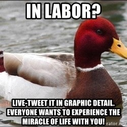 Malicious advice mallard - in labor? live-tweet it in graphic detail. everyone wants to experience the miracle of life with you!