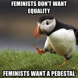 Unpopular Opinion Puffin - Feminists don't want equality Feminists want a pedestal