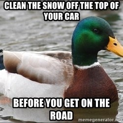 Actual Advice Mallard 1 - Clean the snow off the top of your car Before you get on the road
