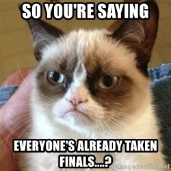 not funny cat - So you're saying everyone's already taken finals....?