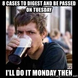 Bad student - 8 cases to digest and be passed on Tuesday I'll do it Monday then