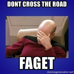 Picard facepalm  - Dont cross the road faget