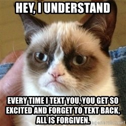 not funny cat - Hey, I understand every time I text you, you get so excited and forget to text back, all is forgiven.