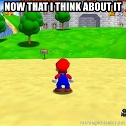 Mario looking at castle - Now that I think about it