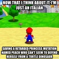 Mario looking at castle - Now that I think about it, I'm just an Italian  Saving a retarded princess mutation named peach who can't seem to defend herself from a turtle dinosaur