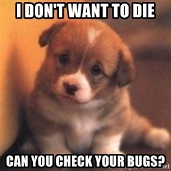cute puppy - I Don't want to die can you check your bugs?