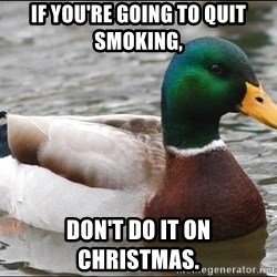 Actual Advice Mallard 1 - If you're going to quit smoking, Don't do it on Christmas.