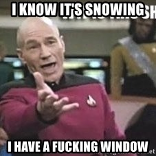 Patrick Stewart WTF - I know it's snowing  I have a fucking window