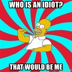 Frases Homero Simpson - Who is an idiot? That would be me