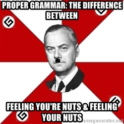 TheGrammarNazi - proper grammar: the difference between feeling you're nuts & feeling your nuts