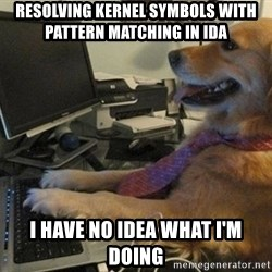 I have no idea what I'm doing - Dog with Tie - Resolving kernel symbols with pattern matching in IDA I have no idea what i'm doing