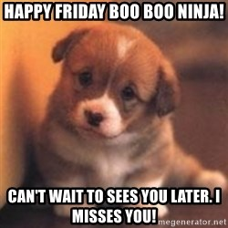 cute puppy - Happy Friday boo boo ninja! Can't wait to sees you later. I misses you!