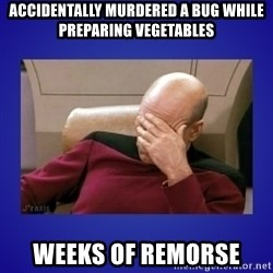 Picard facepalm  - Accidentally murdered a bug while preparing vegetables Weeks of remorse