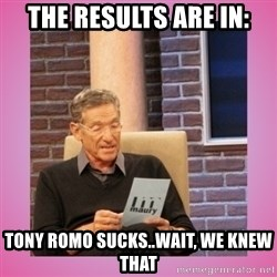 MAURY PV - The results are in: Tony Romo Sucks..wait, we knew that