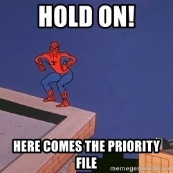Spiderman12345 - hold on! here comes the priority file
