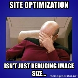 Picard facepalm  - Site optimization Isn't just reducing image size...