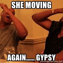 kanye west jay z laughing - She moving  again...... gypsy