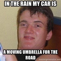 high/drunk guy - in the rain my car is a moving umbrella for the road